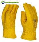 Téli, bélelt, sárga sofőrkesztyű marhaszínbőrből, 10.5-es méret