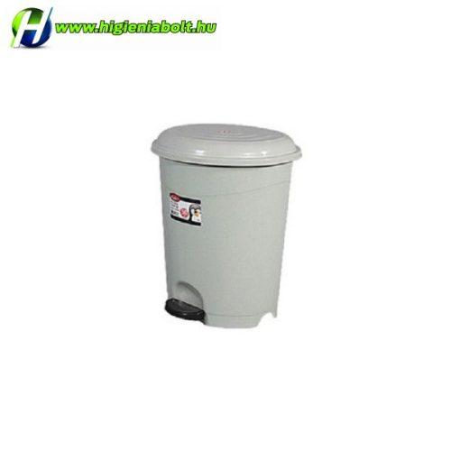 Pedálos szürke műanyag szemetes kuka kivehető kosárral 12 Literes
