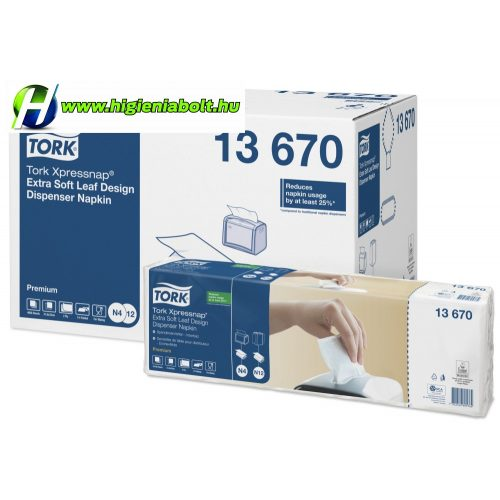 Tork 13670 N4 Xpressnap® Extra Soft levélmintás fehér adagolós szalvéta